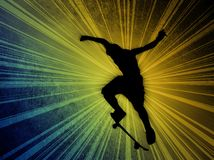 Skateboarding. Young skater on color background with motion effect Royalty Free Stock Images