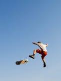 Skateboarding. Teen boy play skateboarding high jump Stock Images
