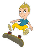 Skateboarding boy cartoon Royalty Free Stock Image