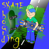 Skateboarding boy. Character illustration cute Stock Images