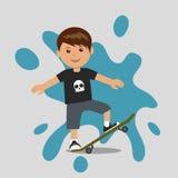 Skateboarding boy. Vector illustration of a young man skateboarder Stock Photography
