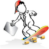 Skateboarding Business man Royalty Free Stock Photography