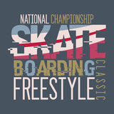 Skateboarding Championship t-shirt design Royalty Free Stock Image