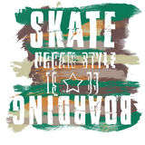 Skateboarding city art. Street graphic style SK8. Fashion stylish print. Template apparel, card, label, poster. emblem, t-shirt Royalty Free Stock Images