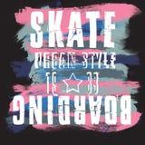 Skateboarding city art. Street graphic style SK8. Fashion stylish print. Template apparel, card, label, poster. emblem, t-shirt. Royalty Free Stock Image