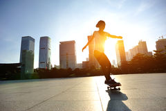 Skateboarding at city stock photography