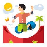Skateboarding del vector Ejemplo colorido de la historieta del estilo plano stock de ilustración