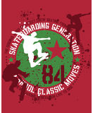 Skateboarding design. A skateboarding sports design, white, dark red and green on bright red background, splatter effects Royalty Free Illustration