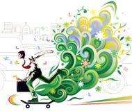 Skateboarding do homem de negócios Foto de Stock Royalty Free