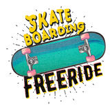 Skateboarding freeride. typography poster. With detailed skateboard. t-shirt print / apparel design,  illustration Stock Photo
