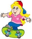 Skateboarding girl. On white background - vector illustration Stock Images