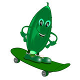 Skateboarding illustration. Skateboard cucumber illustration cartoon  character Royalty Free Stock Photos