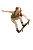 Skateboarding, Isolated on White Stock Images