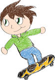 Skateboarding Kid. A sketch of a child riding on a skateboard Stock Illustration