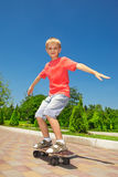 Skateboarding learner Royalty Free Stock Images