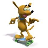 Skateboarding marrone del cane del fumetto Fotografie Stock Libere da Diritti