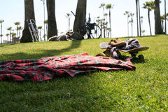 Skateboarding nap. Just after skateboarding at venice beach Stock Photography