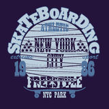 Skateboarding New York t-shirt graphic design Stock Images