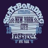 Skateboarding New York t-shirt graphic design Stock Images