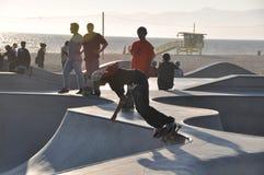 Skateboarding no counterlight Imagem de Stock Royalty Free