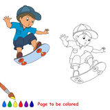 Skateboarding. One baby boy skater on skate stock illustration