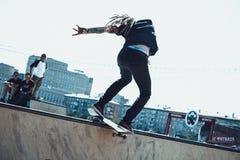Skateboarding på KFC Footbattle Royaltyfri Bild