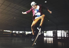 Skateboarding Practice Freestyle Extreme Sports Concept Royalty Free Stock Photo