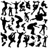 Skateboarding set. Set of skateboarding silhouettes vector Royalty Free Stock Photo
