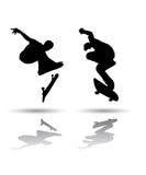 Skateboarding Silhouette. Vector of some skateboarding silhouettes Stock Photography