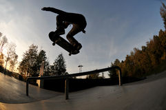 Skateboarding silhouette Stock Photography