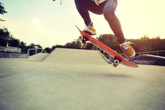 Skateboarding at a skateboard park Royalty Free Stock Images