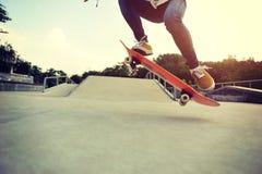 Skateboarding at a skateboard park Royalty Free Stock Images