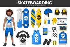 Skateboarding sport equipment skateboarder garment accessory vector icons set Stock Images