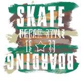 Skateboarding stadskonst Grafisk stil SK8 för gata Stilfullt tryck för mode Malldräkt, kort, etikett, affisch emblem t-skjorta stock illustrationer