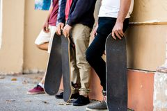 Skateboarding at the street. Skateboarding with friends at the street in summer Stock Images