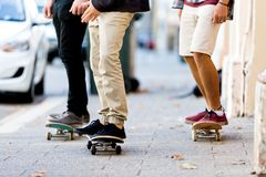 Skateboarding at the street Royalty Free Stock Image