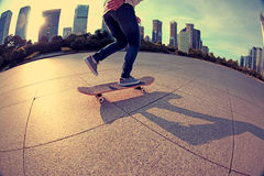 Skateboarding at sunrise city Royalty Free Stock Photography