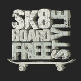 Skateboarding t-shirt emblem Royalty Free Stock Photos