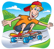 Skateboarding Teen Riding On Sidewalk Royalty Free Stock Image