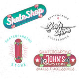 Skateboarding themed vintage logos. Badges, labels, design elements Royalty Free Stock Image