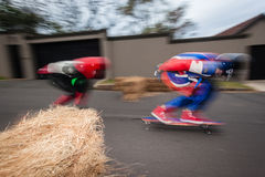 SkateBoarding Colors DownHill Speed-Blur Royalty Free Stock Images