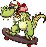 Skateboarding Tyrannosaurus Rex. Rad cartoon skateboarding t-rex. Vector clip art illustration with simple gradients. All in a single layer Stock Images