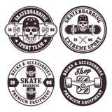 Skateboarding uppsättning av fyra runda emblem för vektor Vektor Illustrationer