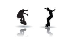 Skateboarding vector. Vector of some skateboarding silhouettes Stock Photos