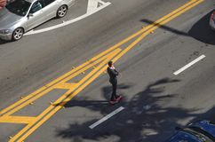 Skateboarding. A young man goes to work on skateboard in miami beach stock photo