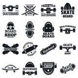 Skateboardlogouppsättning, enkel stil royaltyfri illustrationer