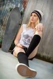 Skateboardmeisje Stock Fotografie