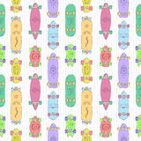 Skateboards and longboards cartoon style vector seamless pattern. Stock Images