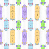 Skateboards and longboards cartoon style vector seamless pattern (orange, purple, blue, green). Stock Photography