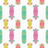 Skateboards and longboards cartoon style vector seamless pattern  Stock Photography